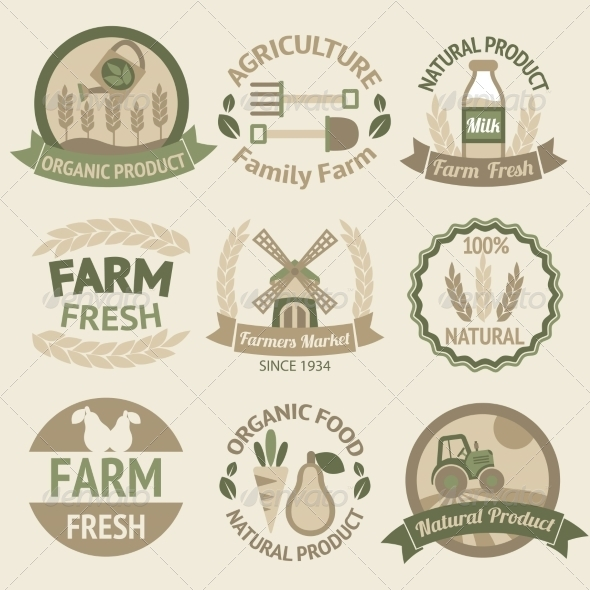 GraphicRiver Farming harvesting and agriculture labels 7292687