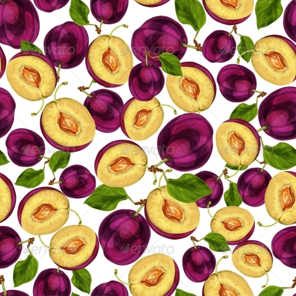 GraphicRiver Seamless Plum Fruit Sliced Pattern 7292707
