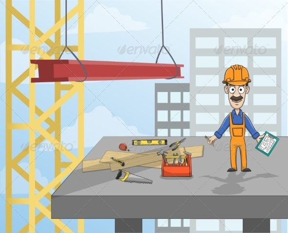 GraphicRiver Construction Worker on Platform 7292715