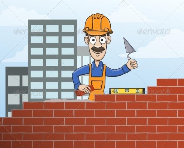 GraphicRiver Mason Building Red Brick Wall 7292716