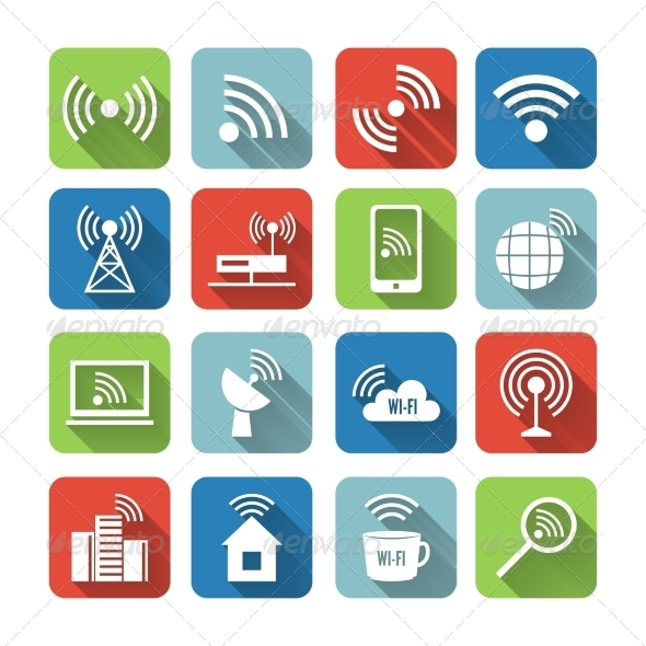 GraphicRiver Wireless Communication Network Icons Set 7292726