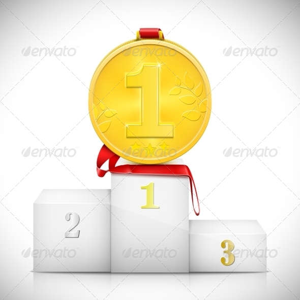 GraphicRiver Gold Medal On Pedestal Of Winners 7292806