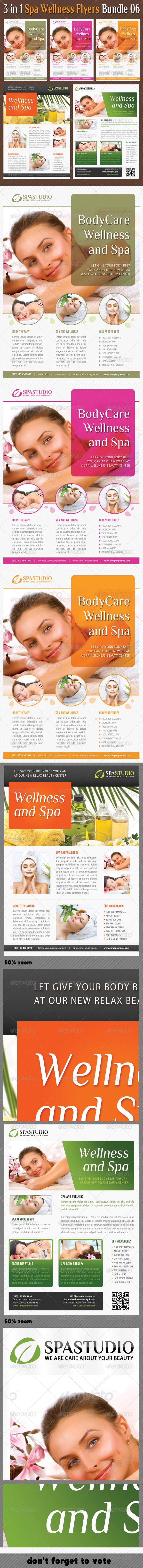 GraphicRiver 3 in 1 Spa Wellness Flyers Bundle 06 7292835