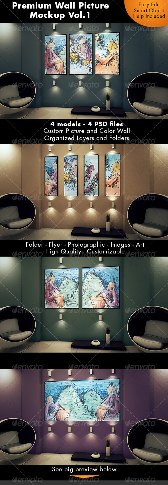 GraphicRiver Wall Picture Mockup Vol.1 7293611