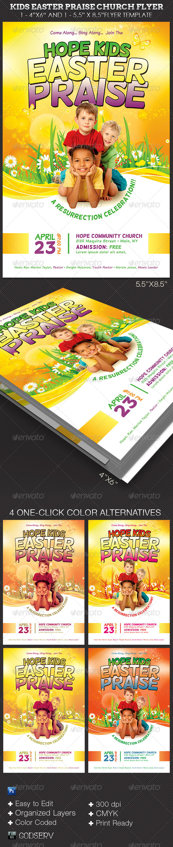 GraphicRiver Kids Easter Praise Church Flyer Template 7293612