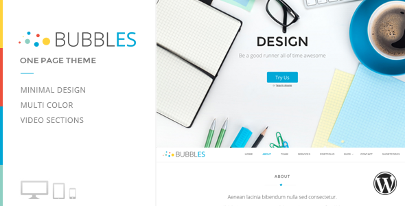 ThemeForest Bubbles Parallax One Page Wordpress Theme 7241908
