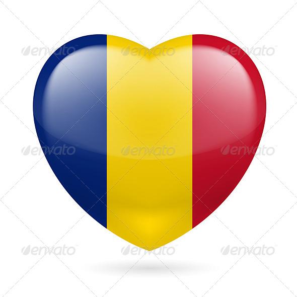 GraphicRiver Heart Icon of Romania 7293845