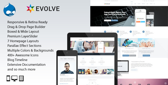 ThemeForest Evolve MultiPurpose Creative Drupal Theme 7251092