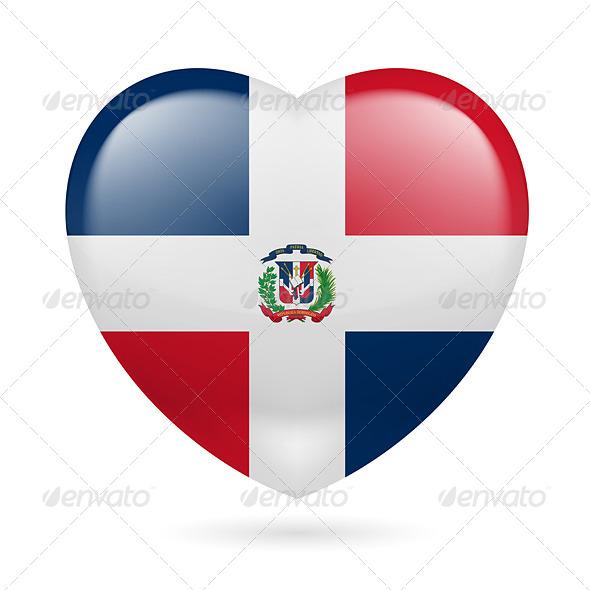 GraphicRiver Heart Icon of Dominican Republic 7293875