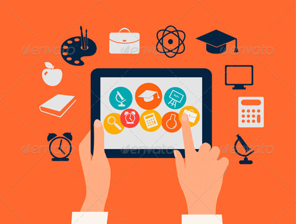 GraphicRiver Hands Touching a Tablet with Education Icons 7294100