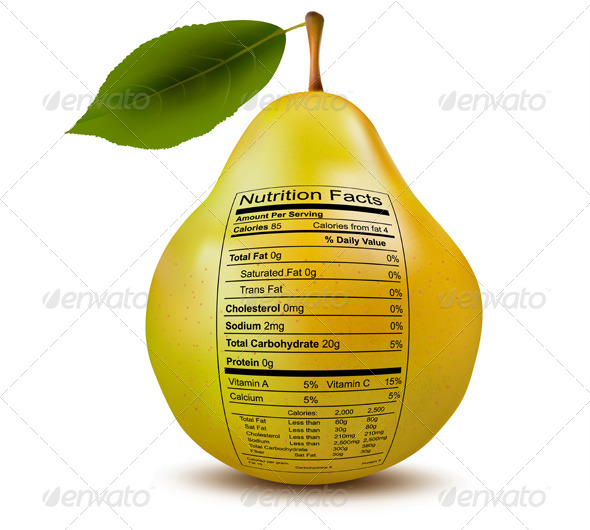 GraphicRiver Pear with Nutrition Facts Label 7294107