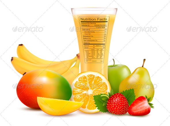 GraphicRiver Fresh Fruit and a Glass of Juice with a Nutrition 7294127