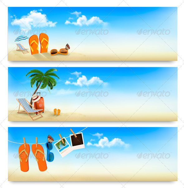 GraphicRiver Three Summer Vacation Banners 7294165