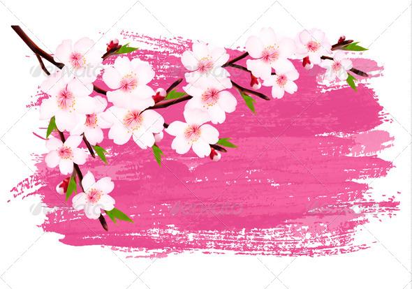 GraphicRiver Pink Paint Sakura Branch Banner 7294252