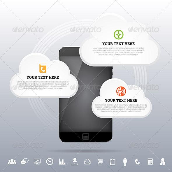 GraphicRiver Cloud Smartphone Mobile Network Design Element 7294268