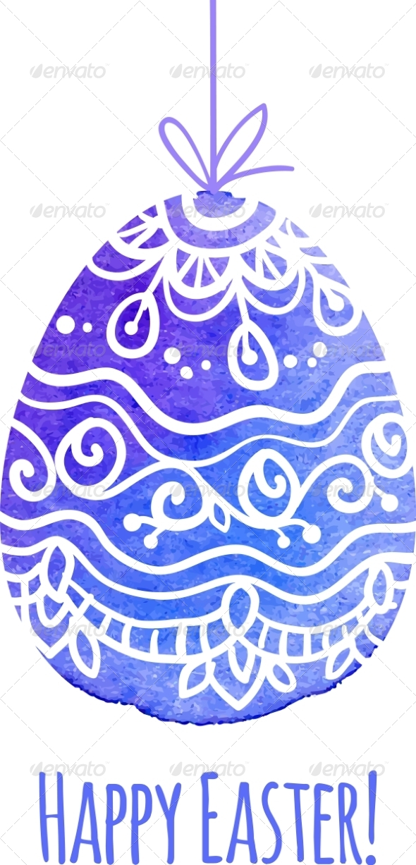 GraphicRiver Watercolor Painted Ornate Vector Easter Egg 7294314