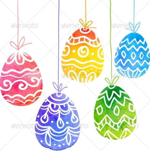 GraphicRiver Watercolor Painted Ornate Vector Easter Eggs 7294319