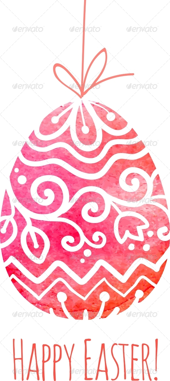 GraphicRiver Watercolor Painted Ornate Vector Easter Egg 7294322