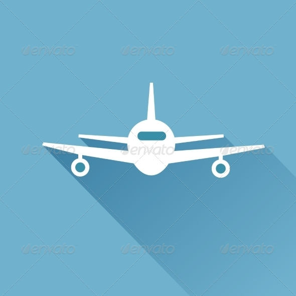 GraphicRiver Flat Long Shadow Airplane 7294452