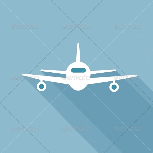 GraphicRiver Flat Long Shadow Airplane 7294453