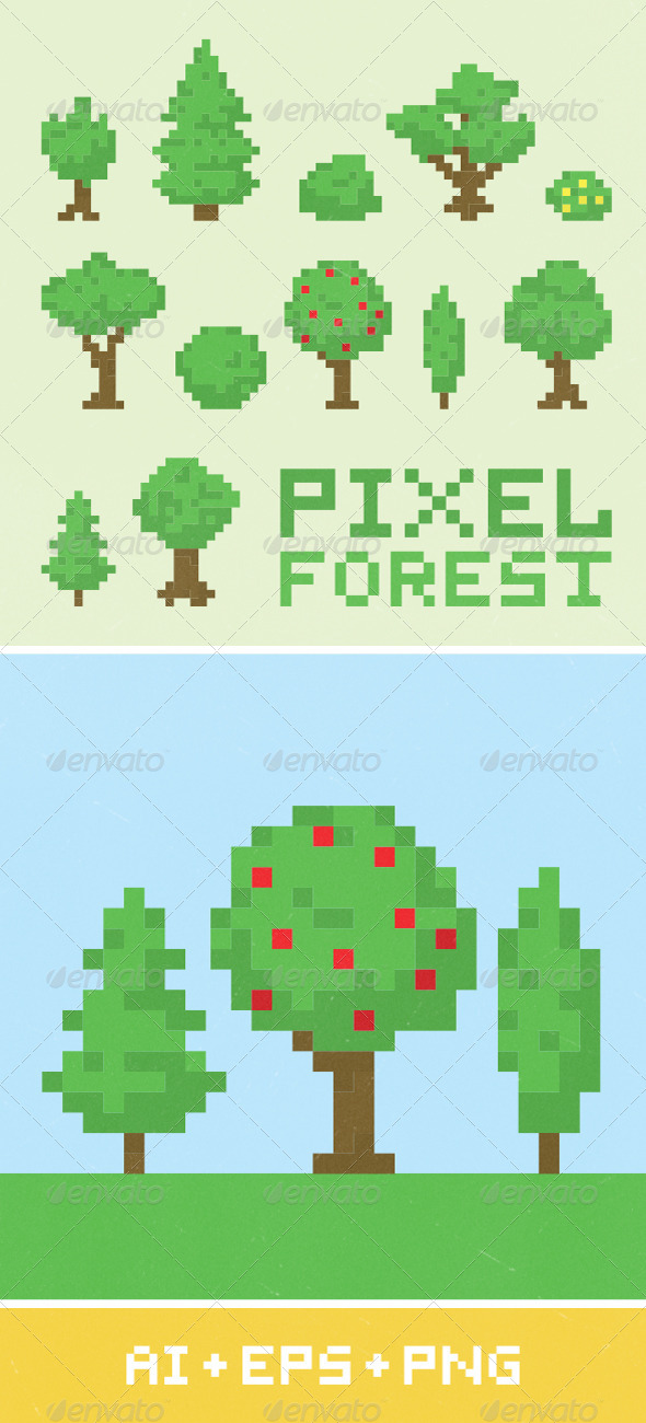 GraphicRiver Pixel Art Forest Set 1 7294662