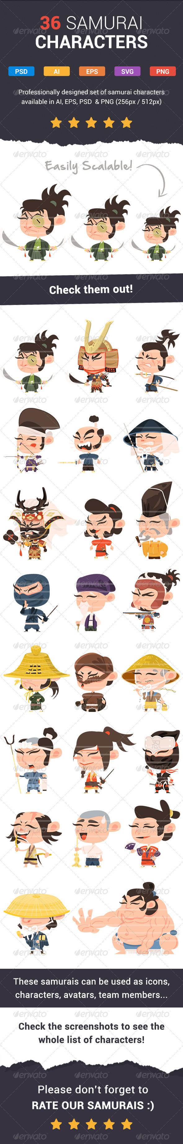 GraphicRiver 36 Fresh Samurai Characters 7271438