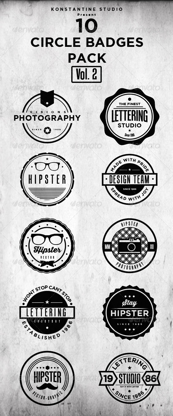 GraphicRiver Circle Vintage Badges Pack Vol.2 7295138