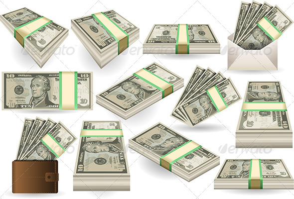 GraphicRiver Set of Ten Dollars Banknotes 7296110