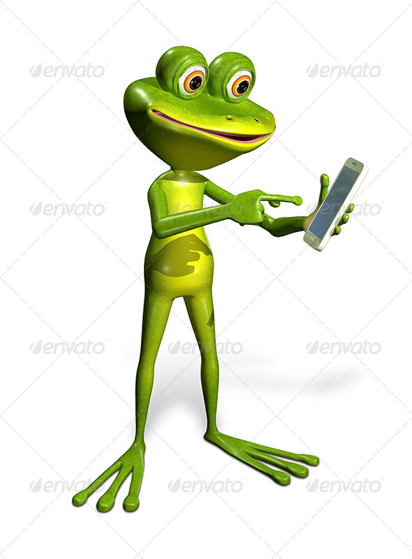 GraphicRiver Frog with a Smartphone 7296235
