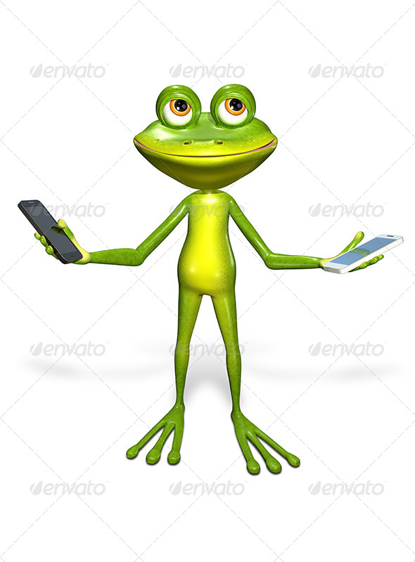 GraphicRiver Frog with a Smartphone 7296246