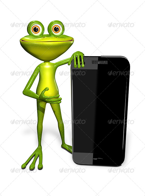 GraphicRiver Frog with a Smartphone 7296278