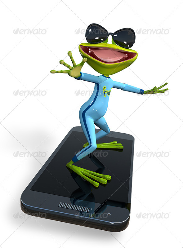 GraphicRiver Frog with a smartphone 7296281