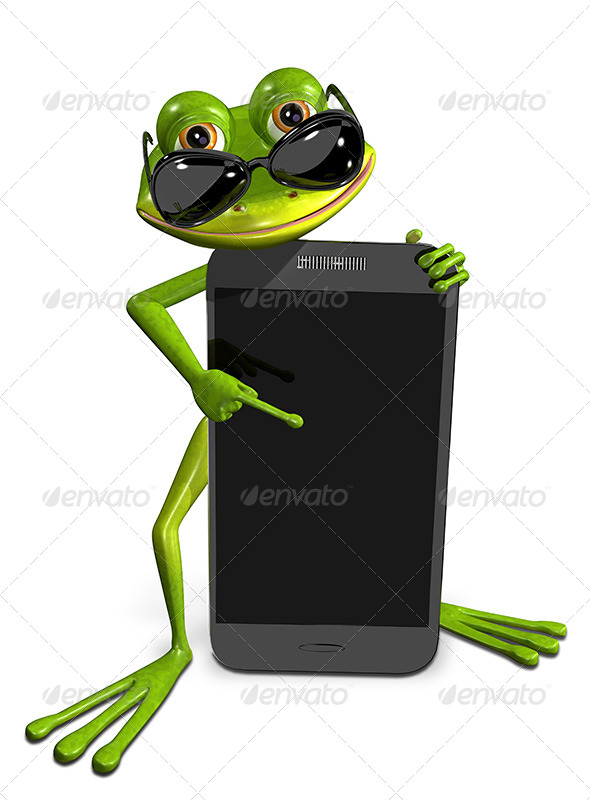 GraphicRiver Frog with a Smartphone 7296408