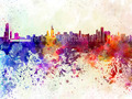 Chicago skyline in watercolor background - PhotoDune Item for Sale