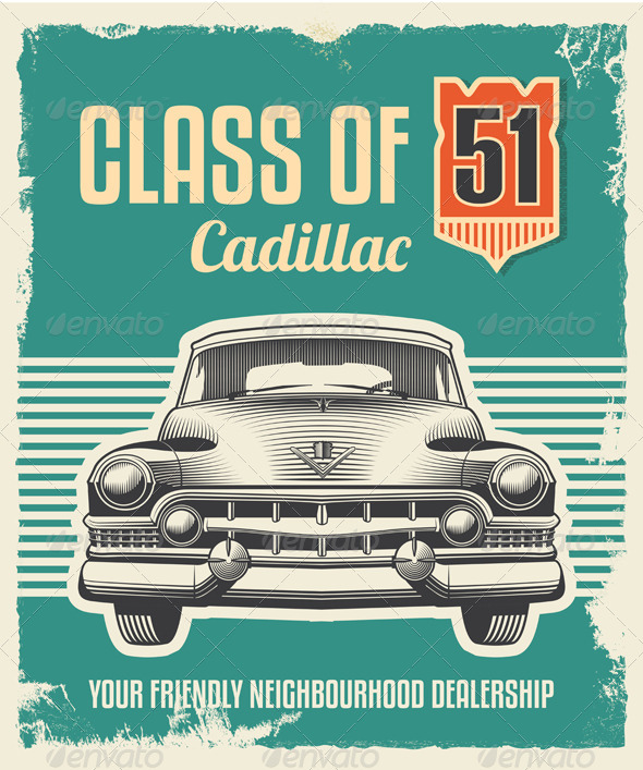 GraphicRiver Vintage Retro Sign Classic Car 7297848