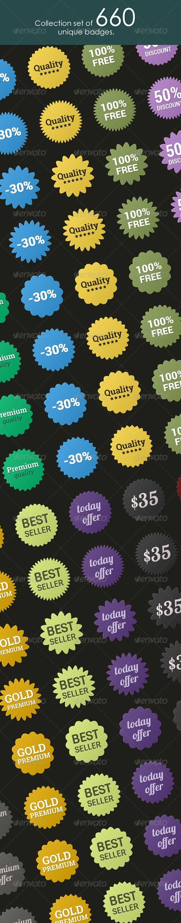 GraphicRiver Collection set of 660 Badges 7298028