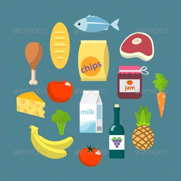 GraphicRiver Online Supermarket Foods Flat Concept 7298642