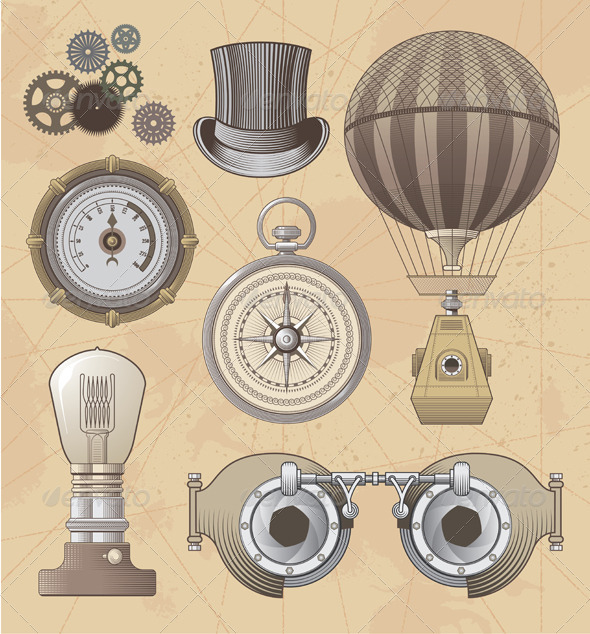 GraphicRiver Vintage Retro Steampunk Vector Design Elements 7298723