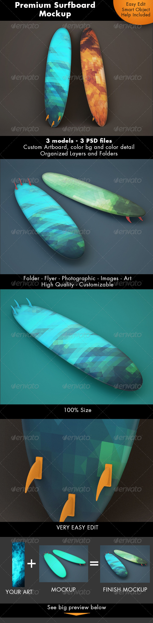 GraphicRiver Surfboard Mockup 7298990