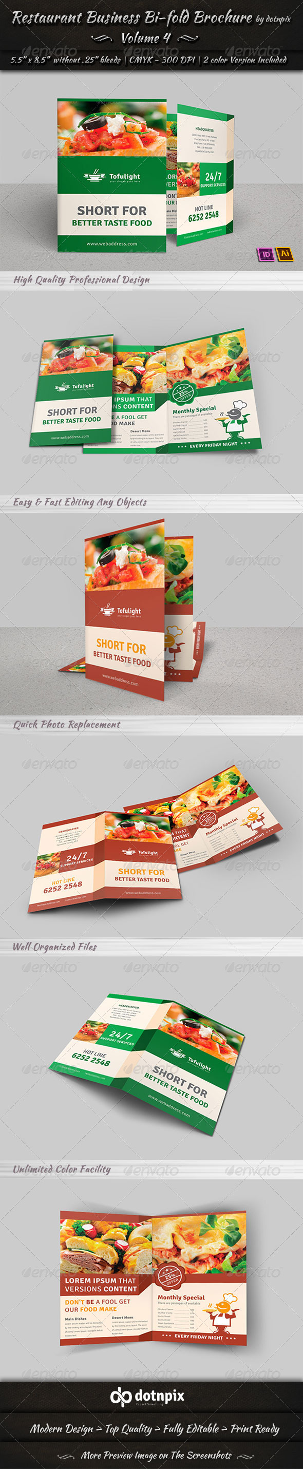 GraphicRiver Restaurant Business Bi-Fold Brochure Volume 4 7299141