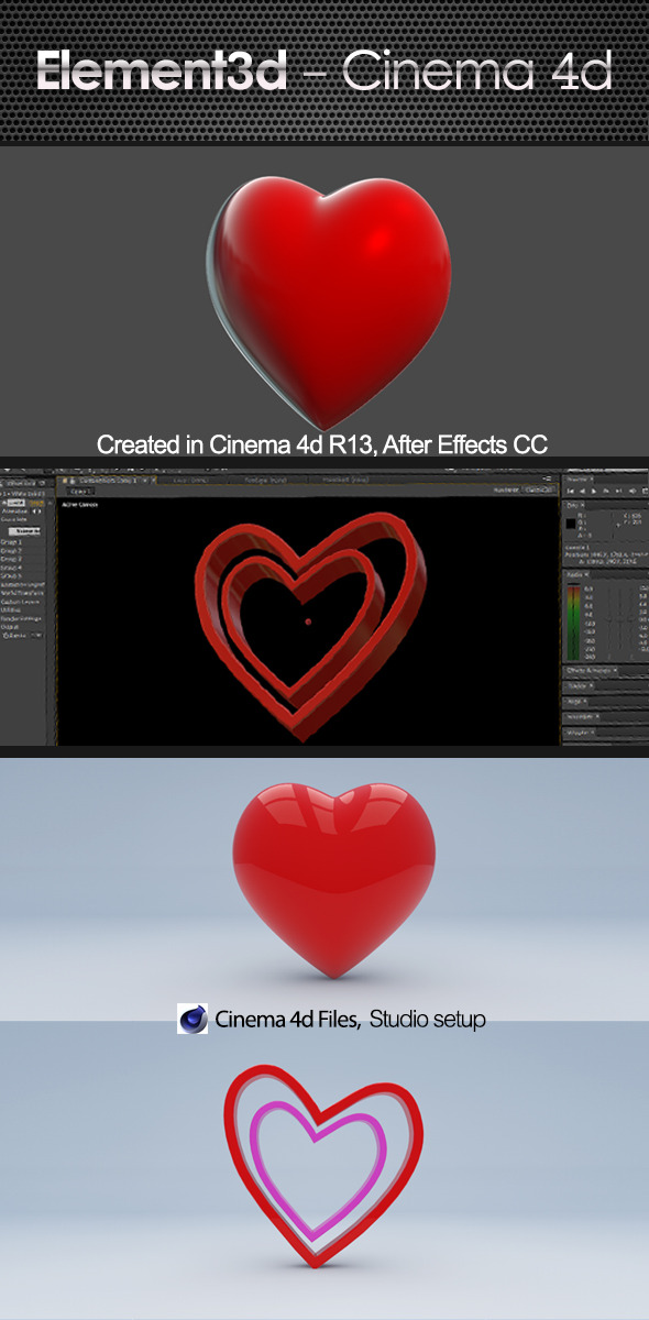 3DOcean Love Heart Element 3D & Cinema4D 7299223