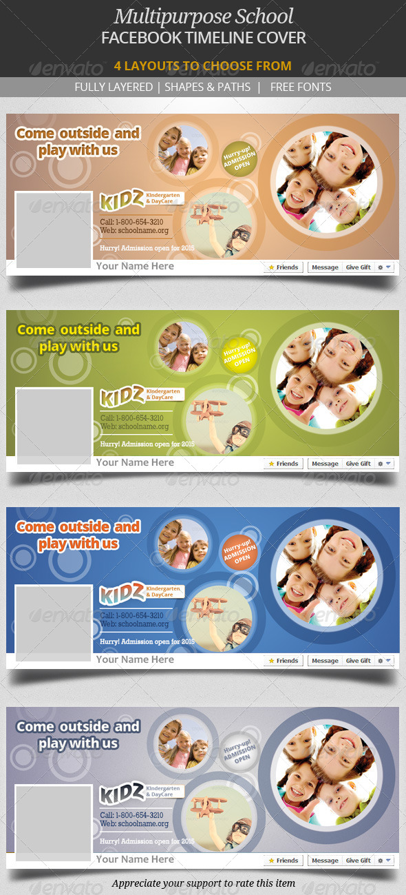 GraphicRiver Multipurpose School Facebook Timeline Cover 7299559