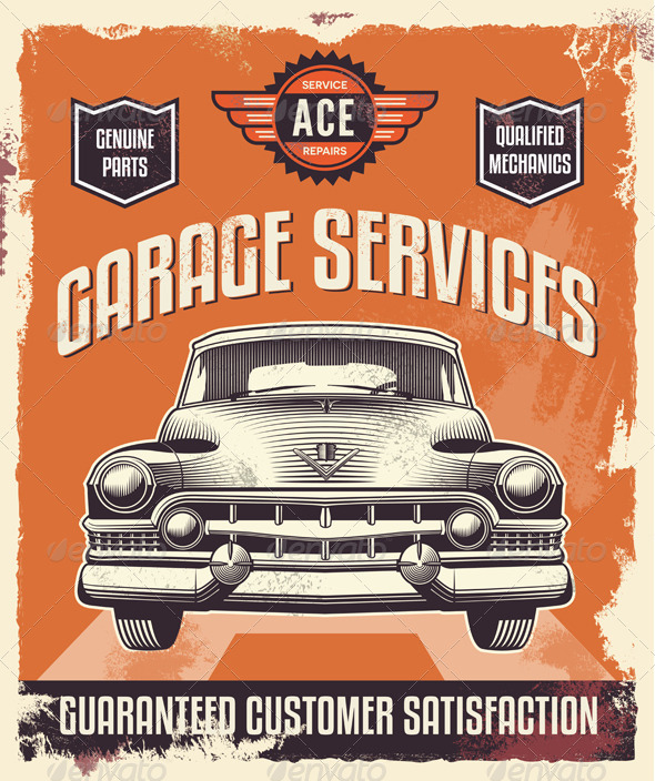 GraphicRiver Vintage Sign Advertising Poster for Garage Service 7299565