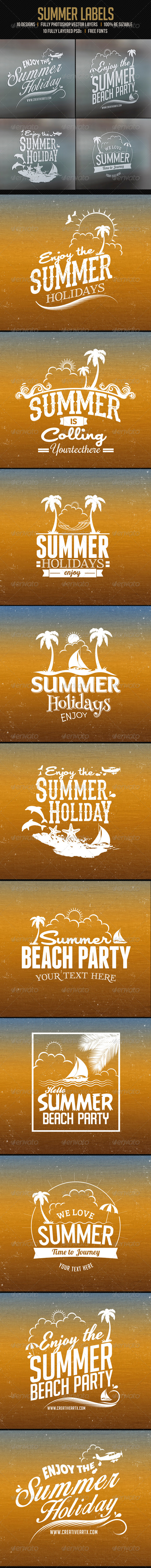 GraphicRiver 10 Summer Labels 7272629