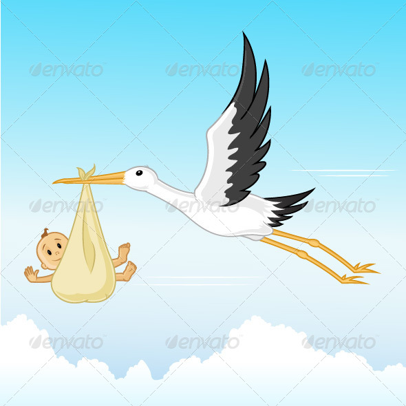 GraphicRiver Stork With Baby 7301149
