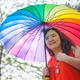 Happy fatty woman with umbrella - PhotoDune Item for Sale