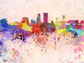 Jacksonville skyline in watercolor background - PhotoDune Item for Sale