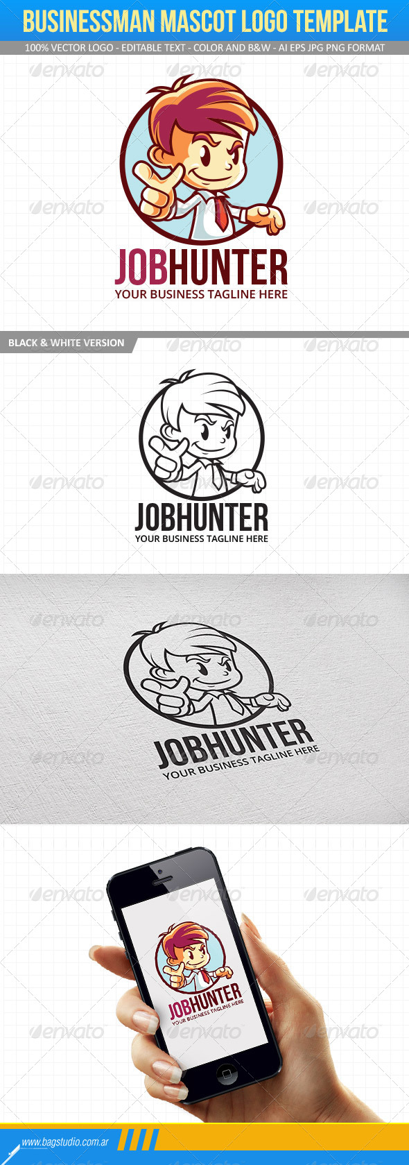 GraphicRiver Businessman Mascot Logo Template 7301431