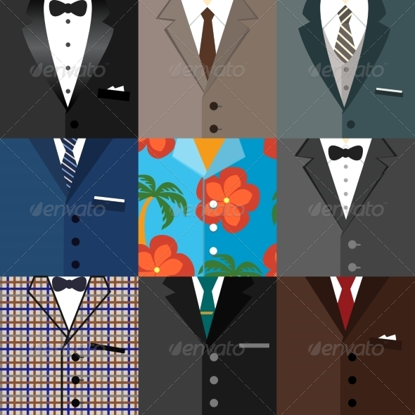 GraphicRiver Business Decorative Icons Set of Suits 7301719