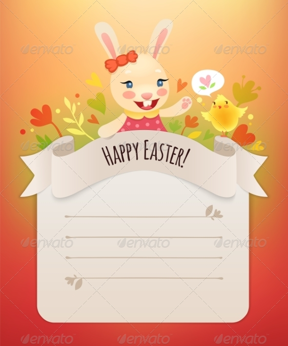 GraphicRiver Happy Easter Bunny Girl Greeting Card 7301850